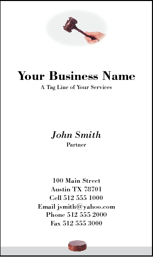 Business Card Design 179 for the Auctioneering Industry.