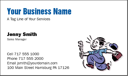Business Card Design 540 for the Plumbing Industry.