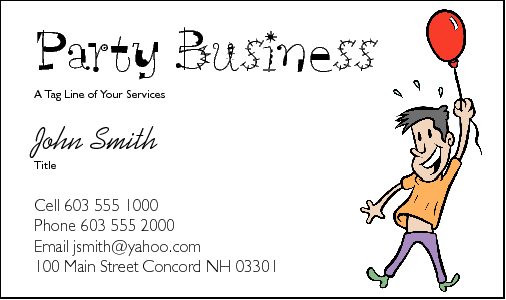 Business Card Design 212 for the Party Industry.