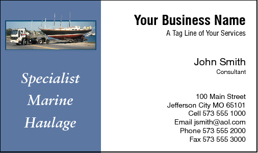 Business Card Design 455 for the Transportation Industry.